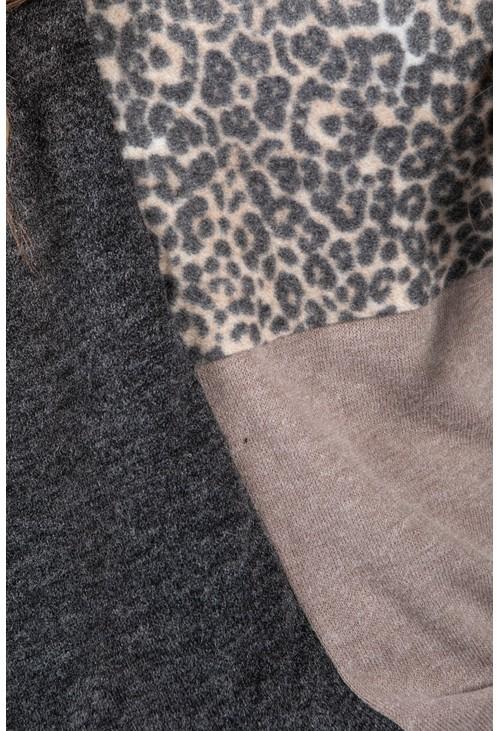 Sophie B Super Soft Block Print Fine Knit Top in Grey