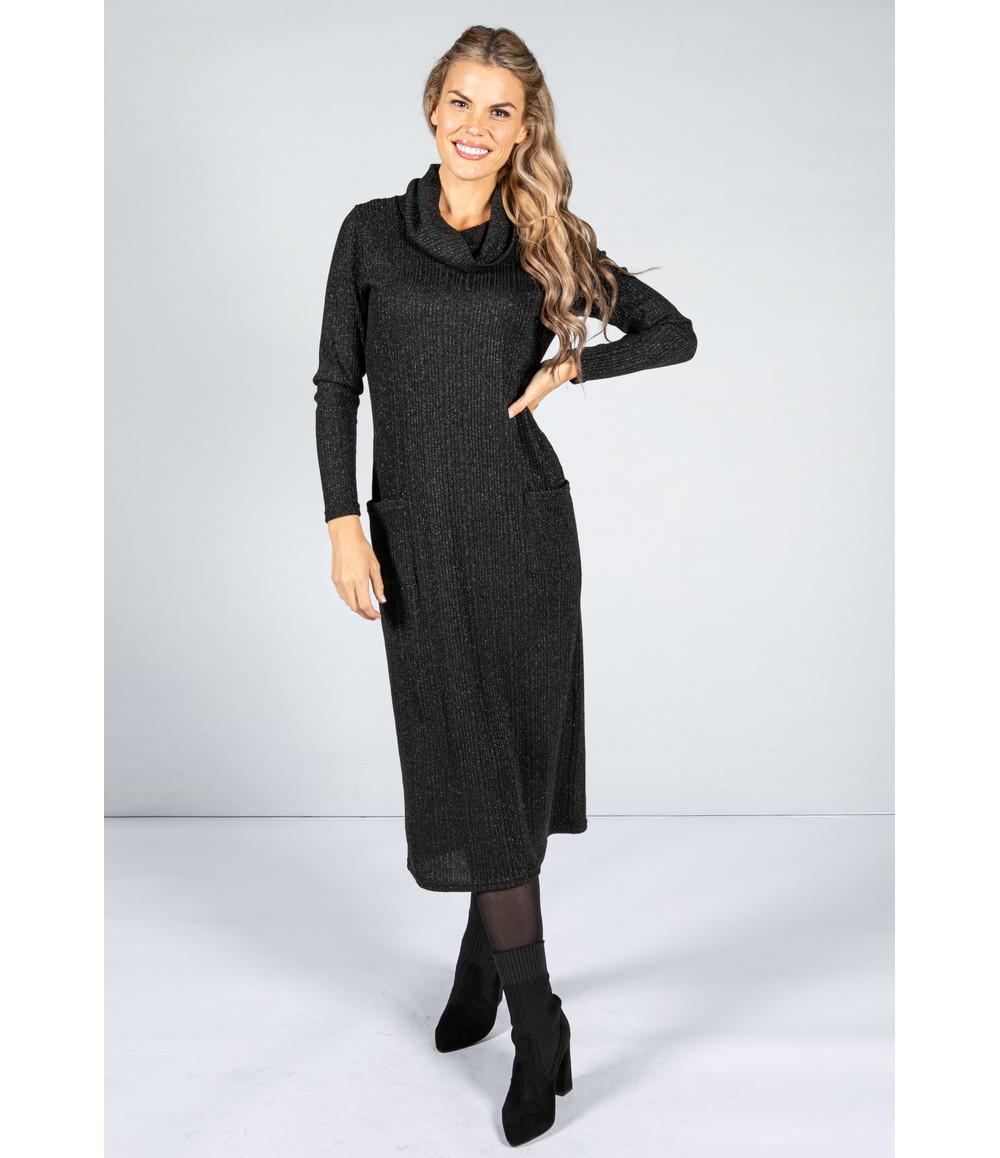 Zapara Lurex Knit Midi Dress in Black