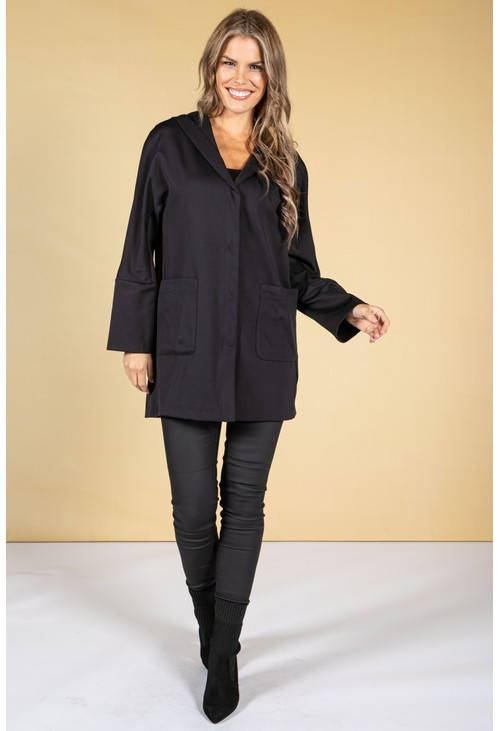 ERFO Hooded Button Front Jacket in Navy