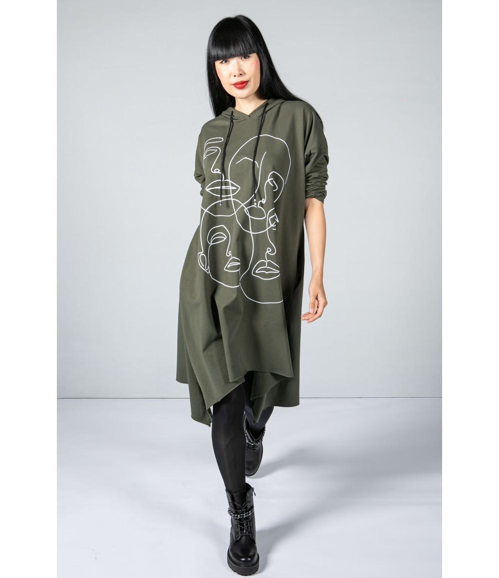 Zapara Oversized Graphic Hooded Tunic in Khaki