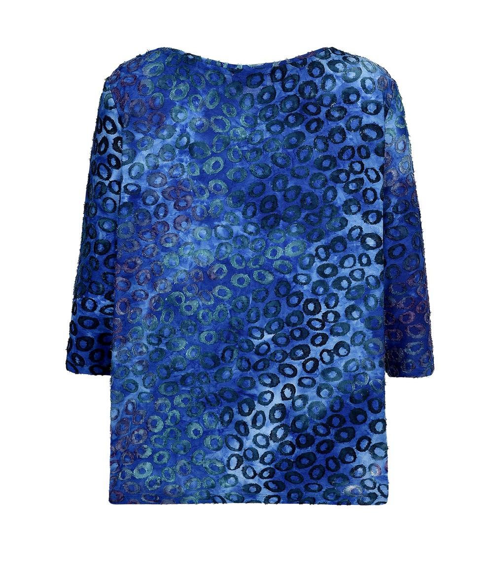 Elanza Sea Blue Textured Print Top