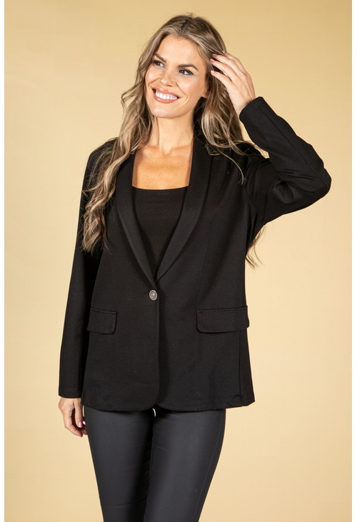 Sophie B Classic Button Front Blazer in Black