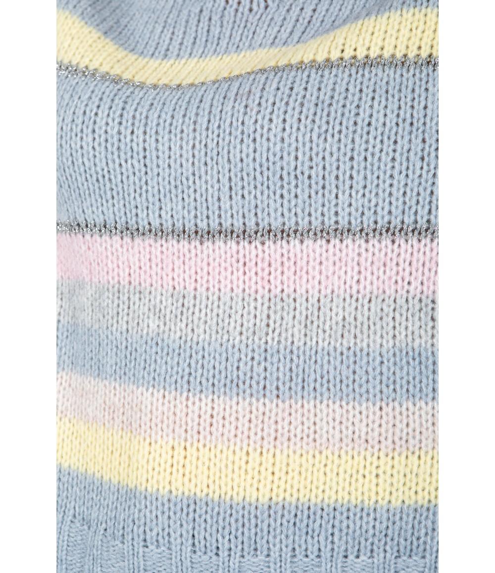 Zapara Soft Chunky Knit Striped Jumper in Pastel Blue