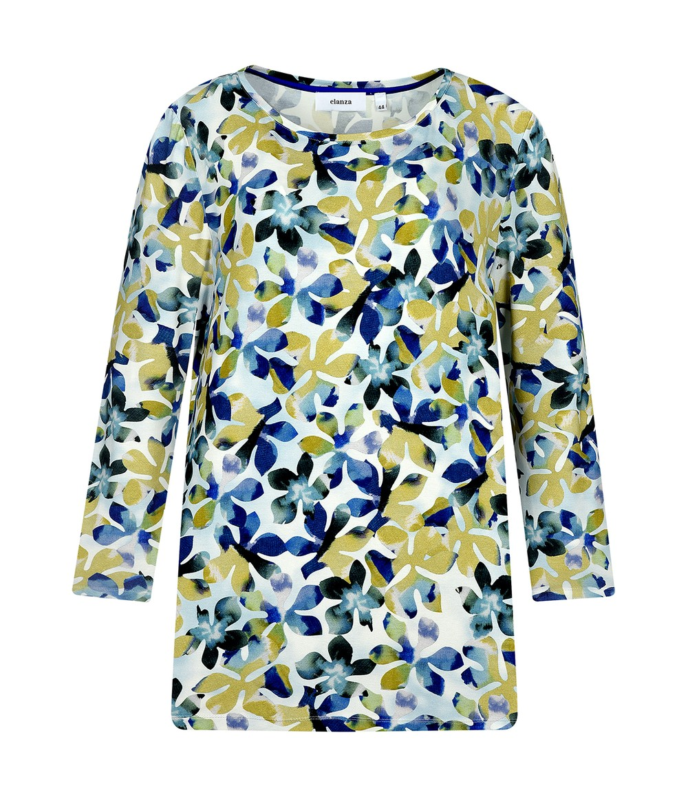 Elanza Blossom Print Top in Blue and Yellow