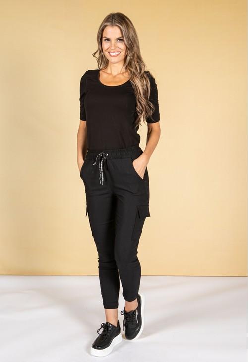 Pamela Scott Cargo Style Joggers in Black