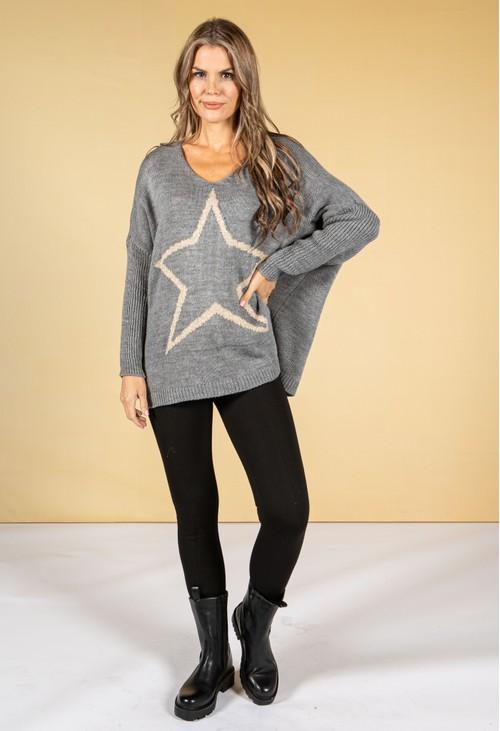 Pamela Scott Mid-Grey Knit with Lurex Star Design