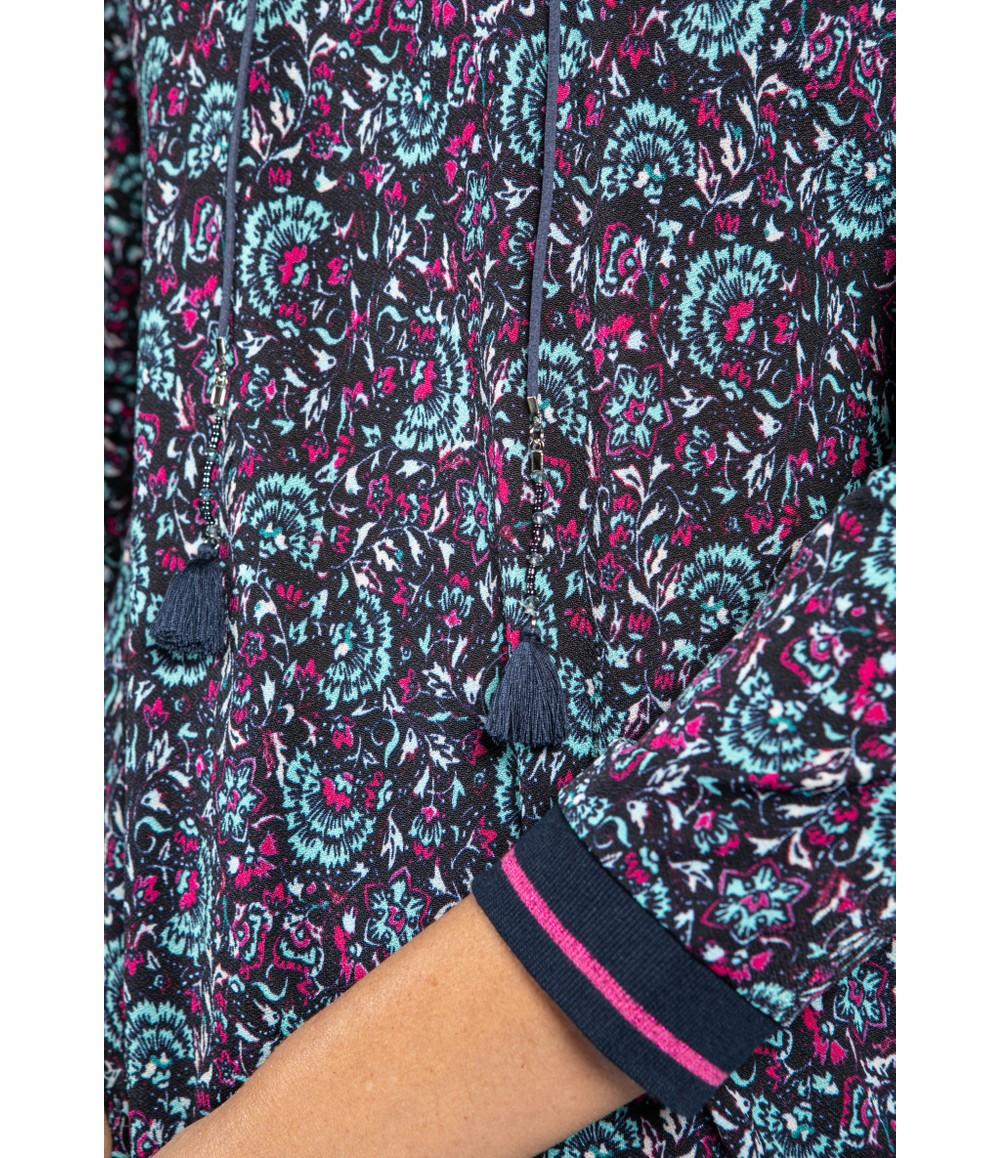 Sophie B Fan Print Top with Tie Neckline