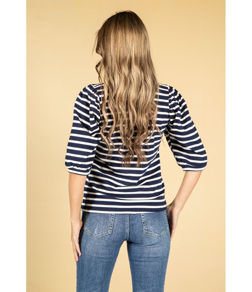 Zapara Navy Stripe Design Top