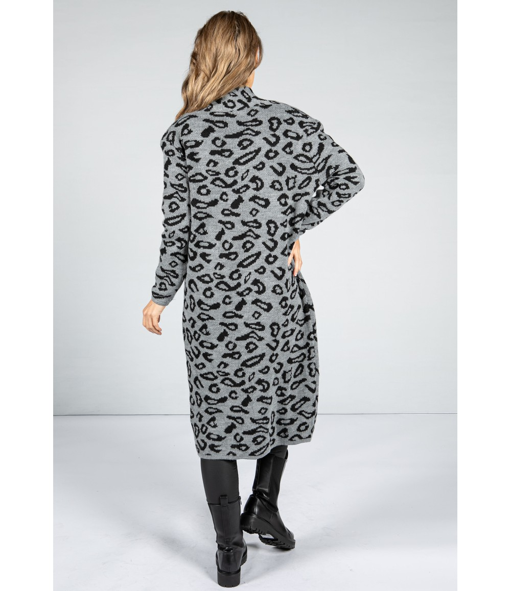 Zapara Leopard Design Long Cardi in Mid Grey