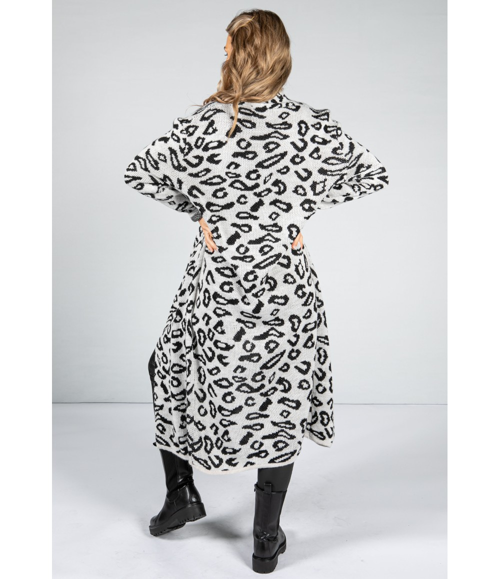 Zapara Leopard Design Long Cardi in Shadow White