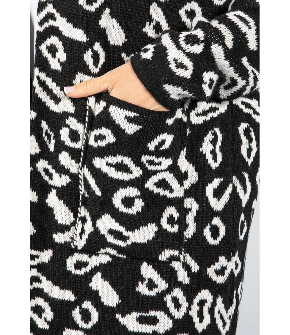 Zapara Leopard Design Long Cardi in Black