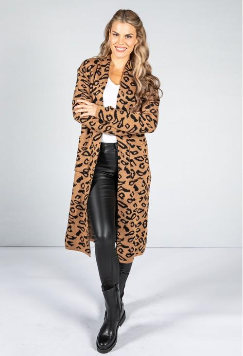 Zapara Leopard Design Long Cardi in Camel