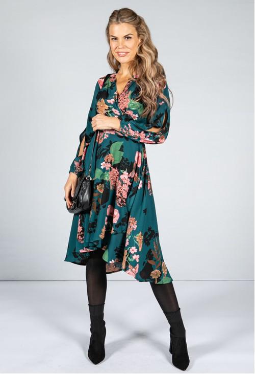 Pamela Scott Blossom Wrap Dress in Dark Teal