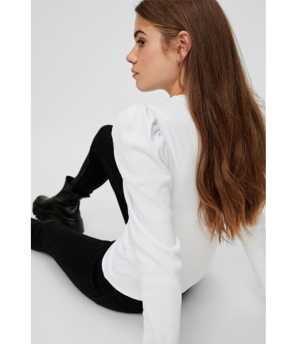 Pieces LONG PUFF SLEEVE RIBBED TOP IN WHITE