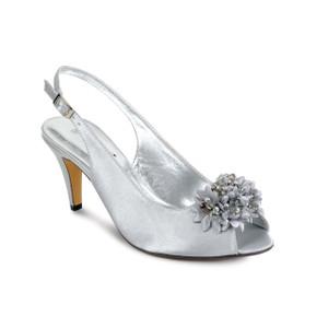 Lunar Silver Grey Peep Toe Shoes