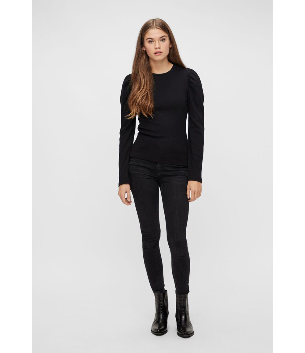 Pieces LONG PUFF SLEEVE RIBBED TOP IN BLACK