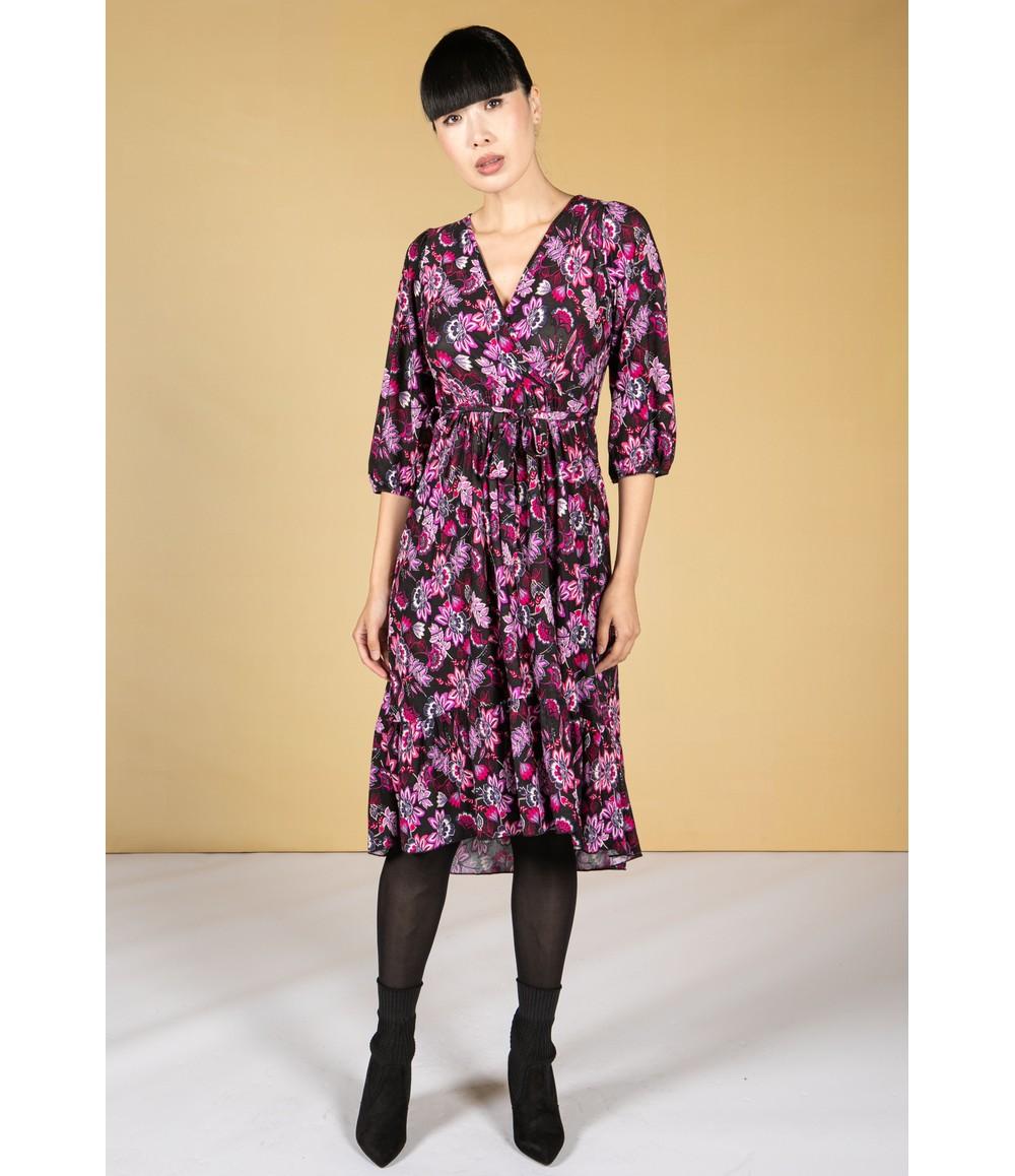 Zapara Fuchsia and Lilac Blossom Print Dress