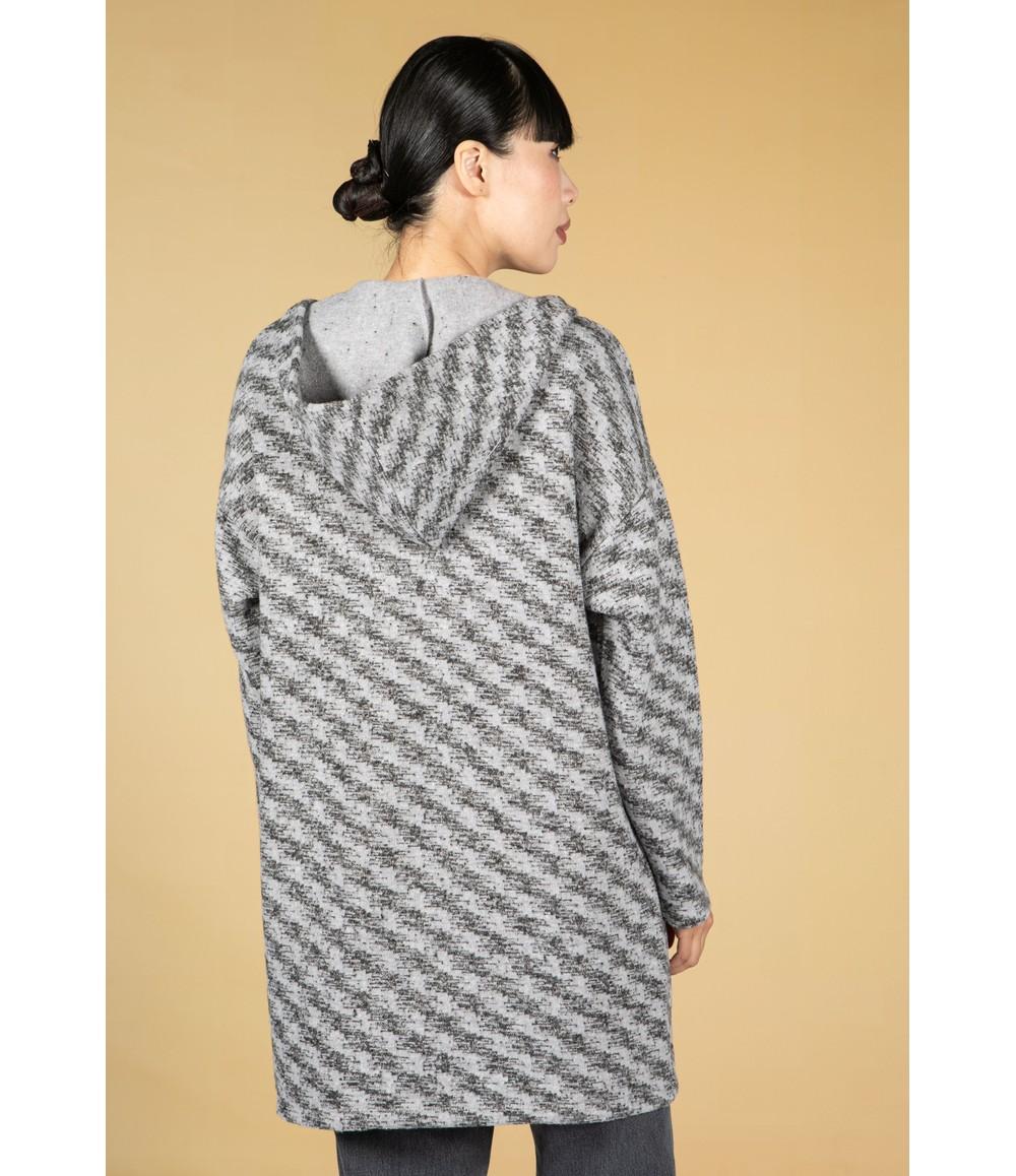 Twist Grey Mix Pattern Knit Cardi