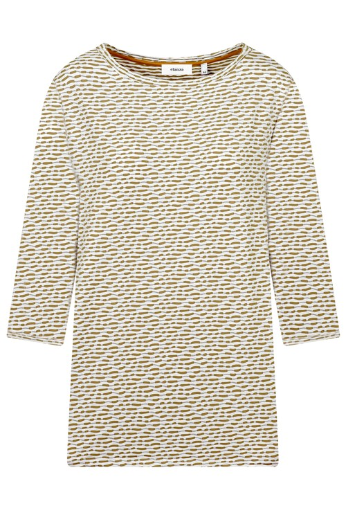 Elanza Jacquard White and Sand Top