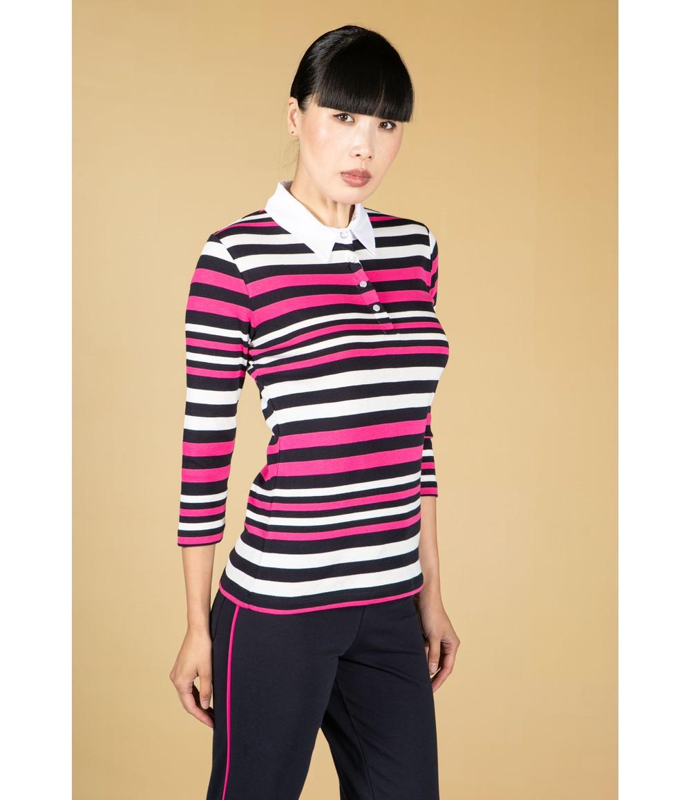 Pamela Femme Magenta Stripe Polo Top