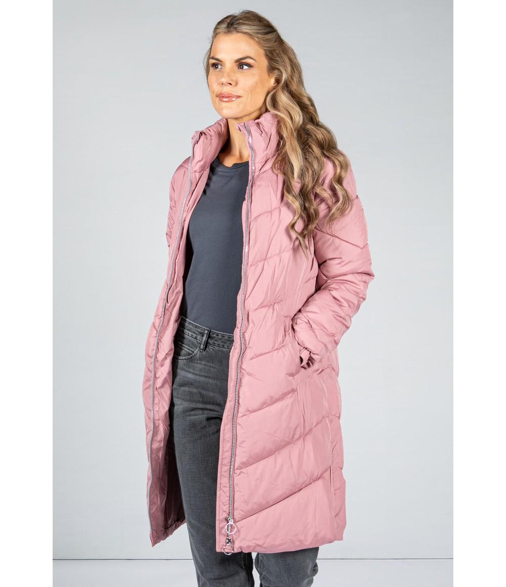 Pamela Scott Midi Length Quilted Coat in Rose Pink