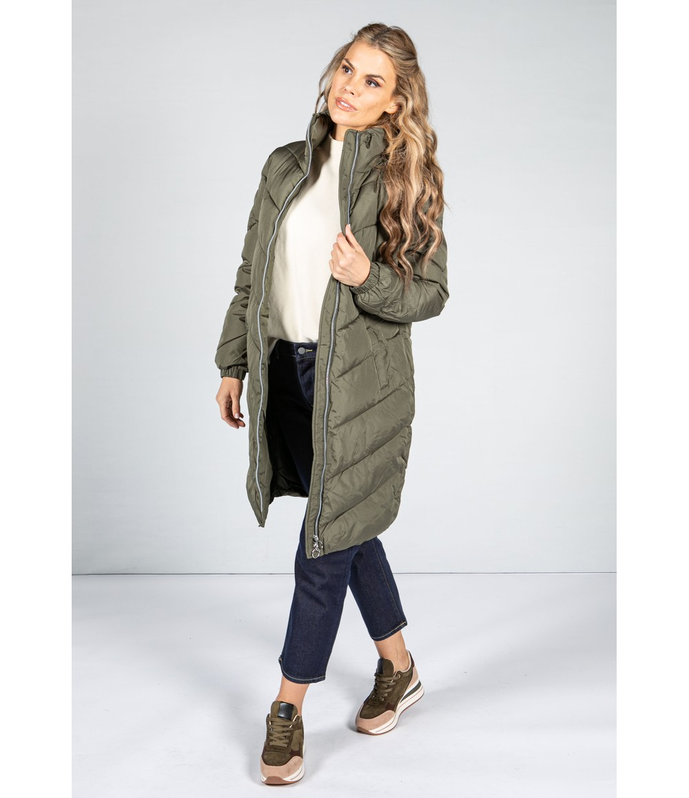 Midi Length Quilted Coat in Khaki Green
