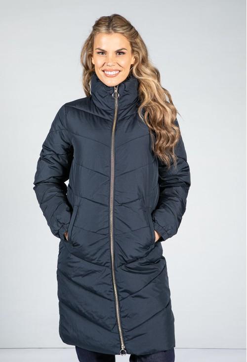 Pamela Scott Midi Length Quilted Coat in Midnight Navy