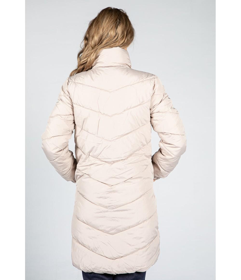 Pamela Scott Midi Length Quilted Coat in Sand Beige
