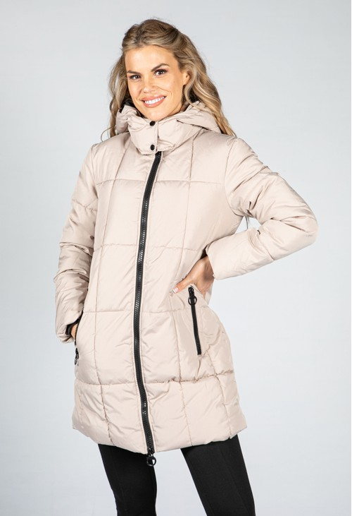 Quilted Hooded Midi Length Coat in Simply Taupe