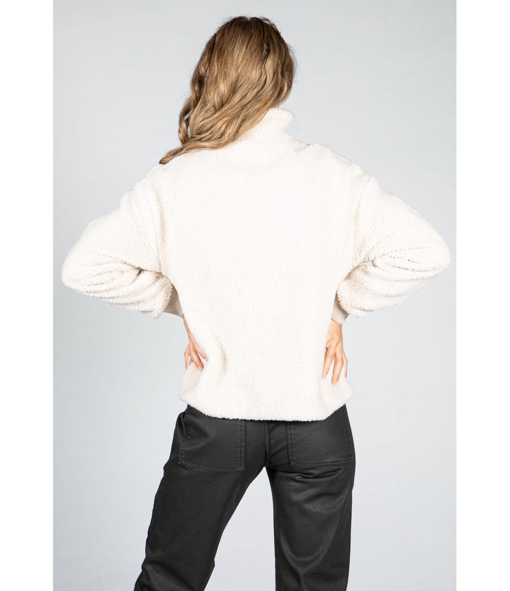 Pamela Scott Teddy Fleece Jacket in Cream & Taupe