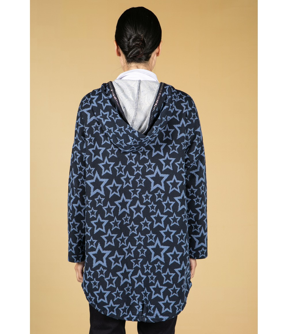 Twist Star Print Knitted Cardigan With Hood
