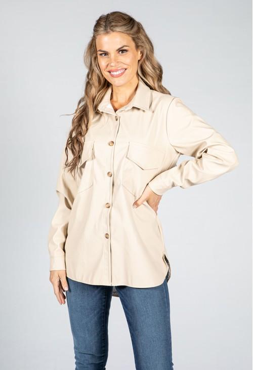 Pamela Scott Leatherette Shirt in Beige