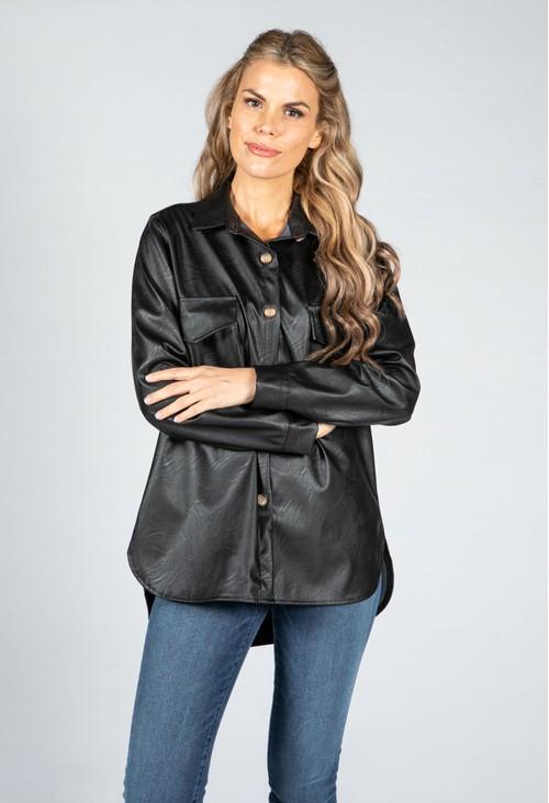 Pamela Scott Leatherette Shirt in Black