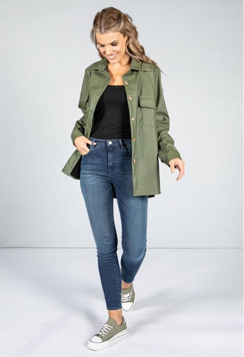 Pamela Scott Leatherette Shirt in Khaki Green