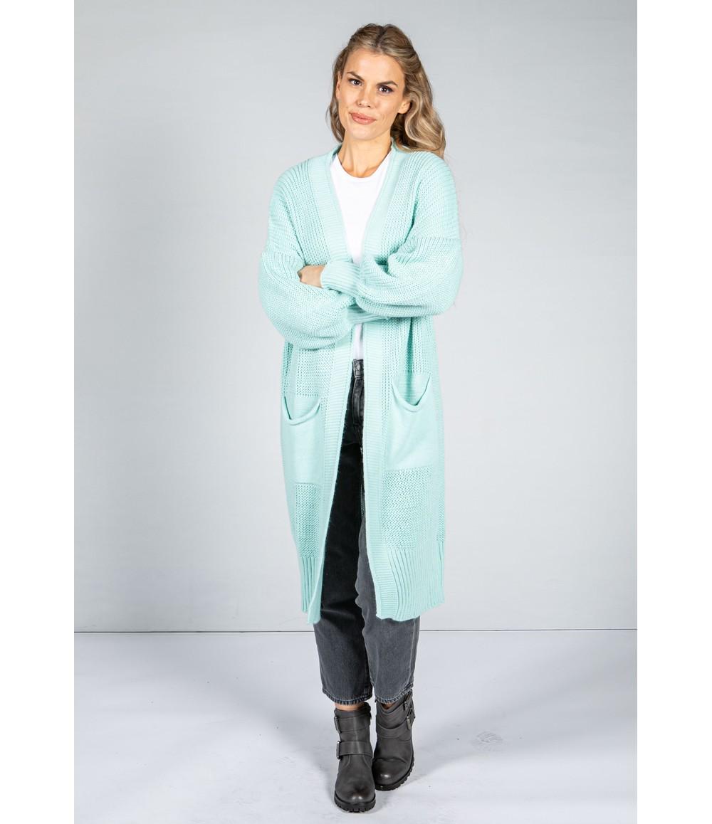 Zapara Longline Knitted Cardigan in Mint