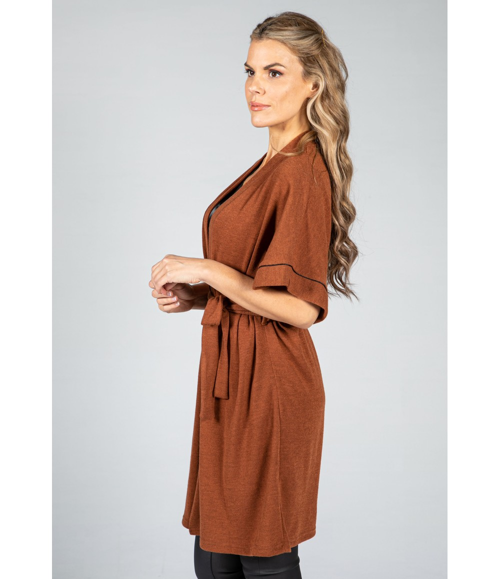 Zapara Fine Knit Kimono Cardigan in Cognac