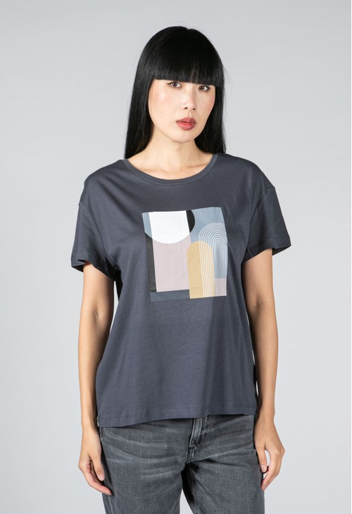 Armedangels GRAPHIC PATCHWORK T-SHIRT MADE OF ORGANIC COTTON IN INDIGO