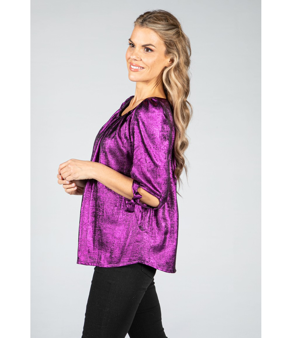 Zapara Shimmer Scoop Neck Blouse in Violet Purple