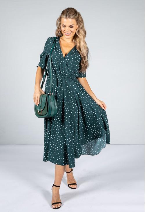 Pamela Scott Tie Sleeve Polka Dot Midi Dress in Dark Green
