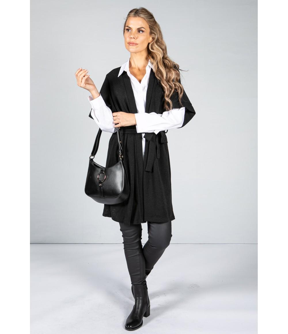 Zapara Fine Knit Kimono Cardigan in Black