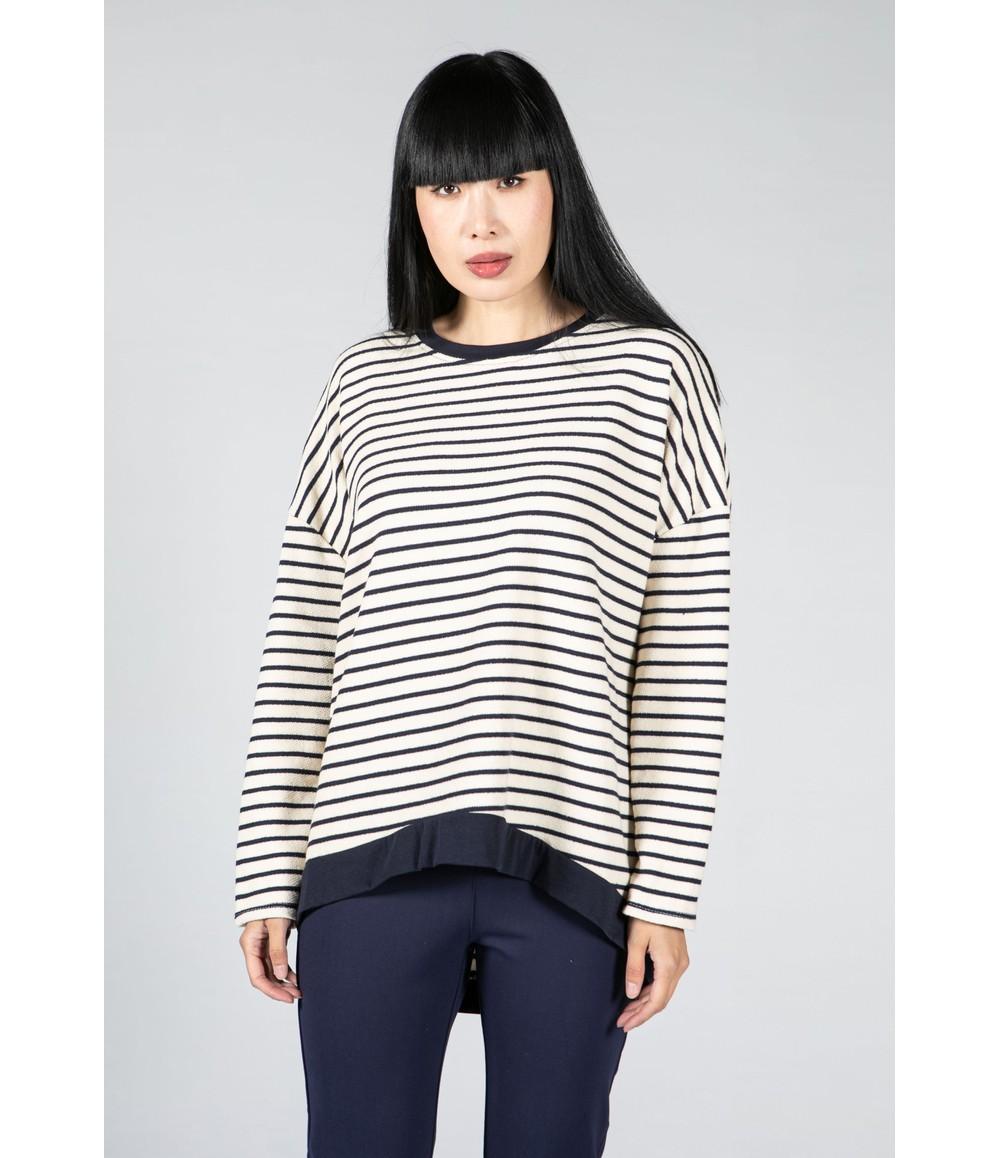 Pamela Scott Navy and Cream Striped Top