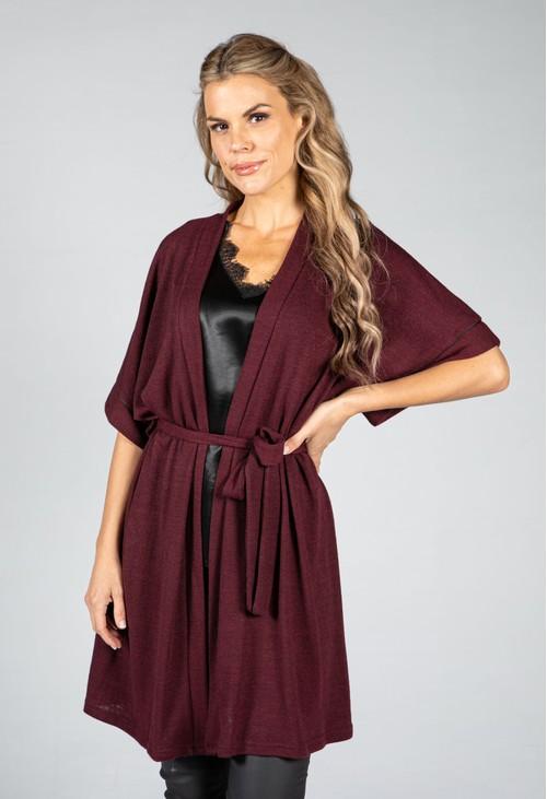 Zapara Fine Knit Kimono Cardigan in Wine
