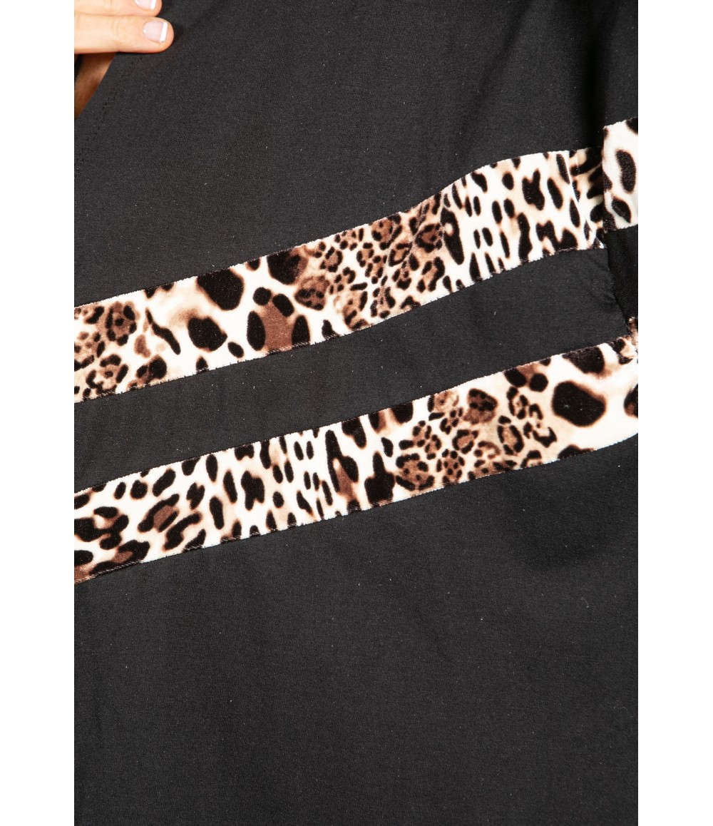 Zapara Hooded Double Stripe Open Cardigan in Black