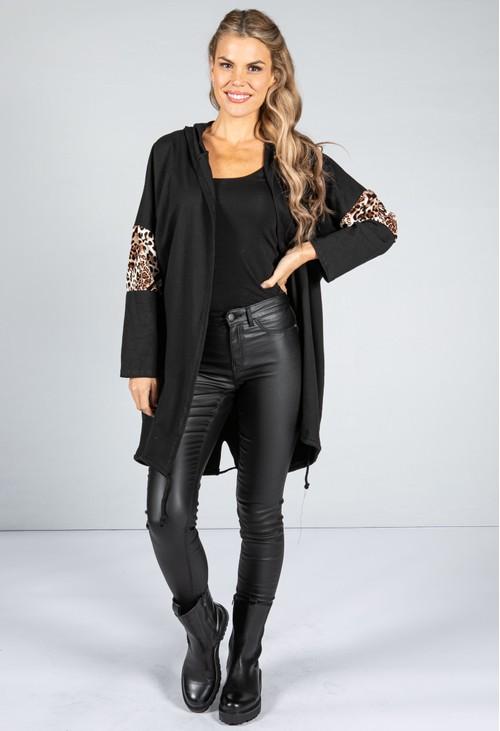 Zapara Hooded Animal Print Stripe Open Cardigan in Black