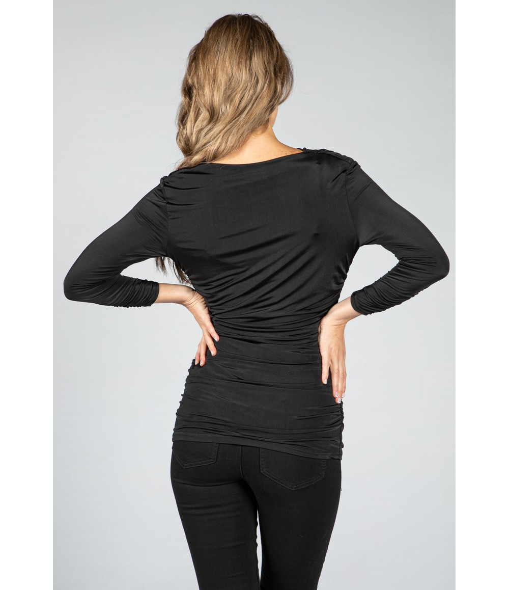 Zapara Chic Ruched Top in Black