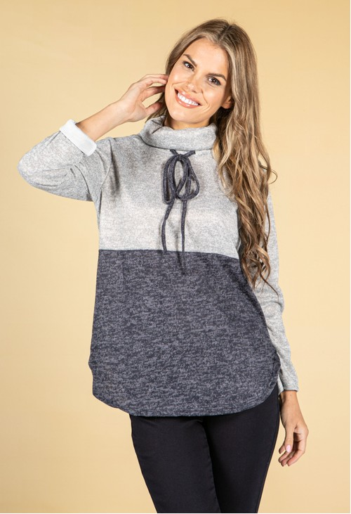 Pamela Scott Stand-Up Collar Block Knit Jumper in Navy