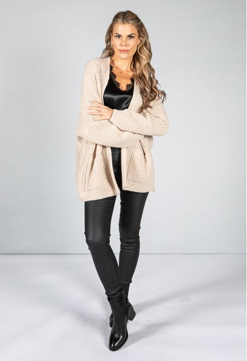 Cosy Chunky Knit Cardigan in Beige