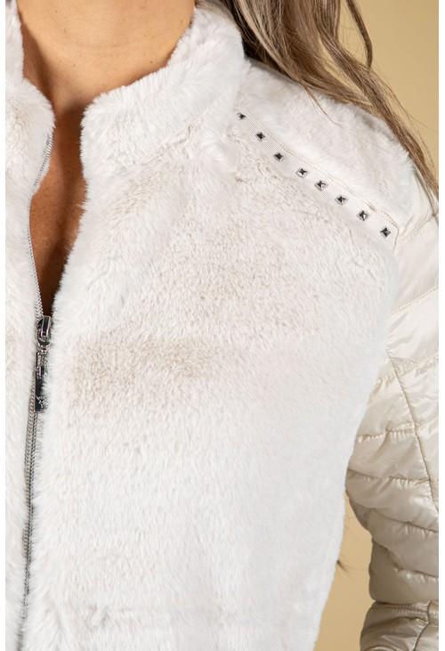 Monari Faux Fur Quilted Jacket in Cream