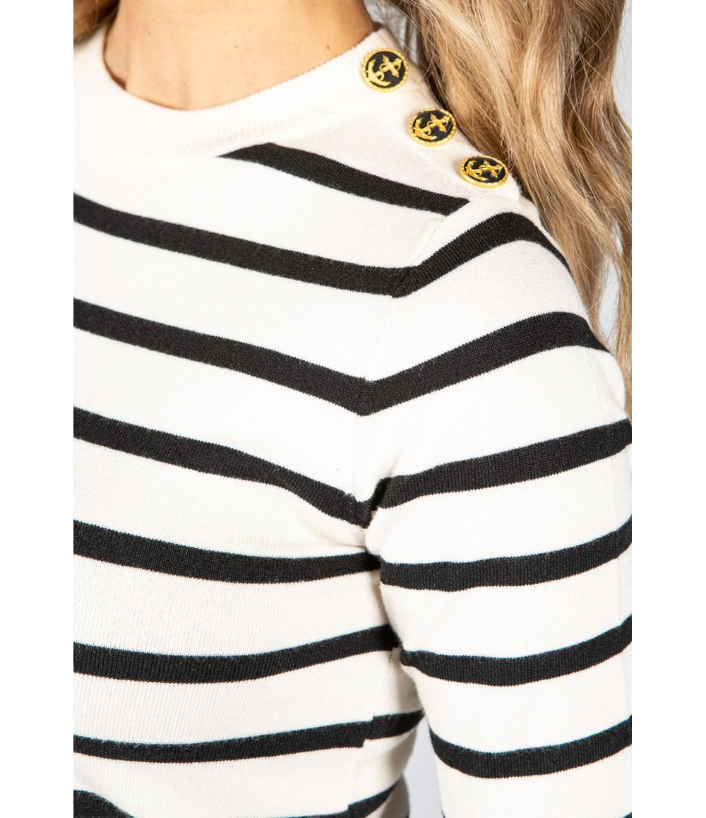 Pamela Scott Cream Stripe Knit with Button Detail