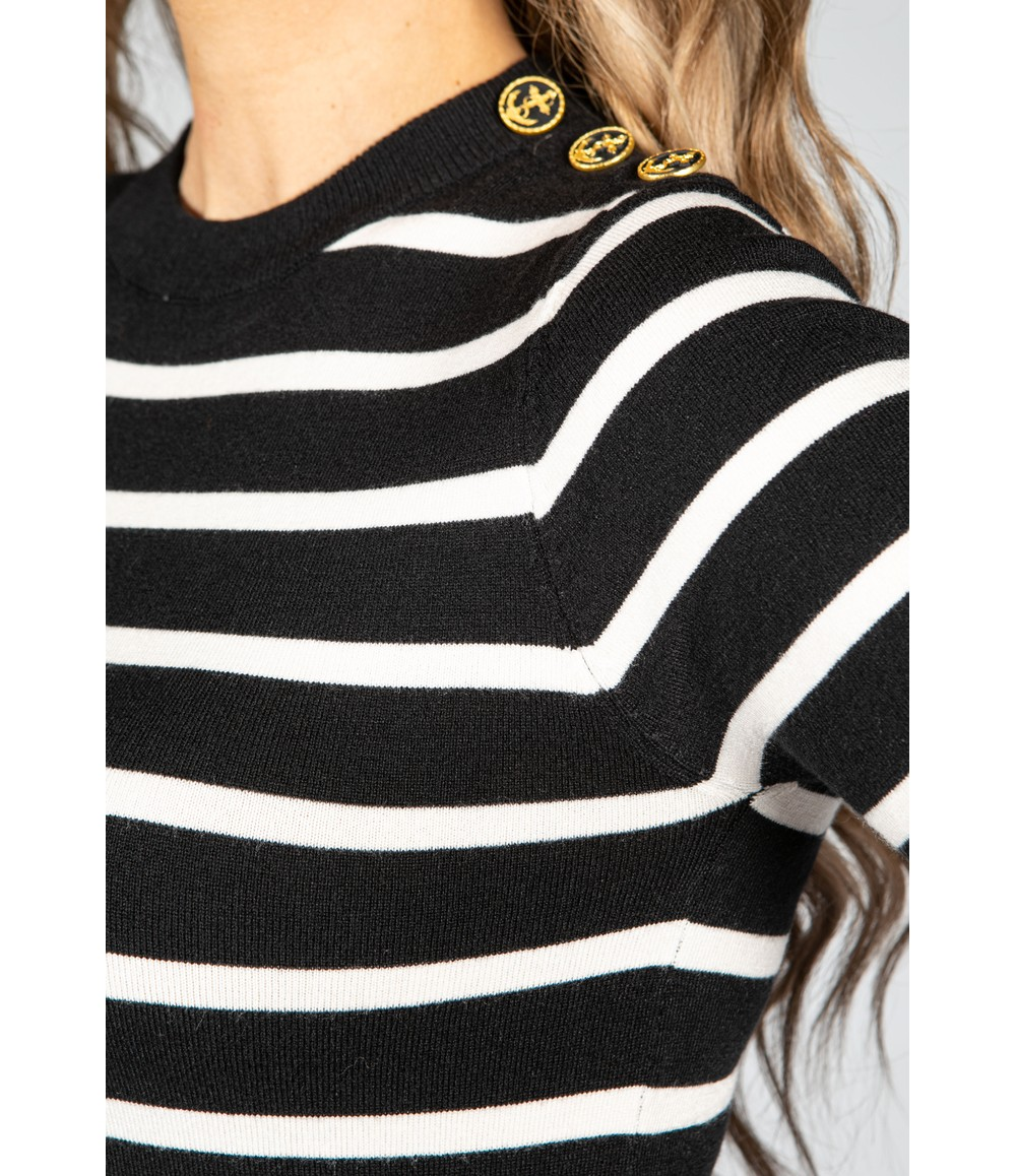 Pamela Scott Black Stripe Knit with Button Detail